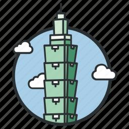 center, financial, landmark, skyscraper, taipei, tall, world icon