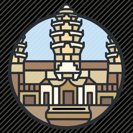 angkor, buddhist, cambodia, capital, hindu, temple, wat icon