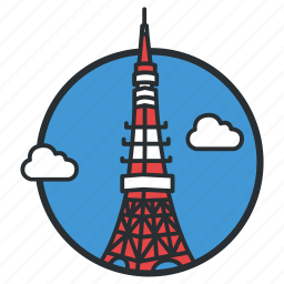 communications, japan, landmark, observation, radio, tokyo, tower icon