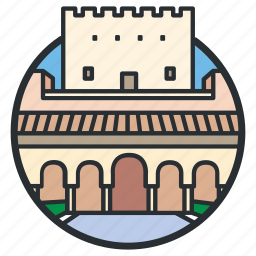 alhambra, calat, castle, fortress, landmark, palace, spain icon