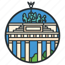 city, brandenburg, berlin, landmark, gate, triumphal, arch icon