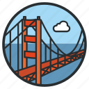 bridge, california, gate, golden, landmark, san francisco, suspension icon