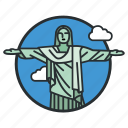 art, brazil, christ, deco, landmark, redeemer, statue icon