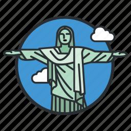 art, brazil, christ, deco, landmark, redeemer, statue icon