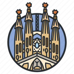 basilica, cathedral, catholic, church, gaudi, roman, spain icon