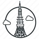 communications, japan, landmark, observation, radio, tokyo, tower icon