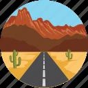 cactus, cityscape, desert, hills, landscape, mountains, road