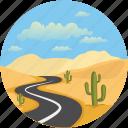 cactus, clouds, desert, landforms, landscape, road, road landscape