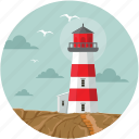 sea tower, ocean, light house, clouds, lighthouse tower