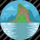 seaside, mountains, beach resort, landscape, railay mountain