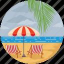 beach, beach sand, landform, landscape, ocean, sea icon