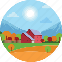 farmhouse, garden, landscape, sun, town, village