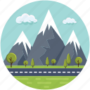 clouds, greenery, hills, landscape, mountains, pine trees, road icon