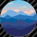 clouds, hills, landforms, landscape, mountains icon