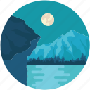hills, landscape, moon, mountains, night, scenery icon