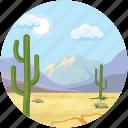 cactus, clouds, desert, landscape, mountains icon