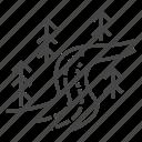 curve, landscape, nature, river icon