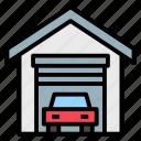 buildings, carport, garage, home, vehicle icon