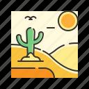 cactus, desert, hot, landscape, nature, sand icon