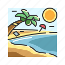 beach, holiday, nature, palm tree, summer, tropic, vacation icon