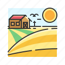 corn, farm, farmer, farming, house, rice icon