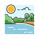 forest, jungle, lake, landscape, nature, water icon