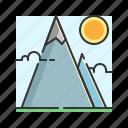 fountain, mount, mountain, nature, stone icon