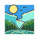 forest, jungle, lights, nature, northern, northern lights icon