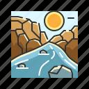 mountain, rivers, stone, water icon