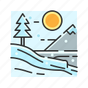 christmas, ice, landscape, snow, snowfall, winter icon