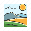 grass, hills, landscape, mountain, nature, steppe icon