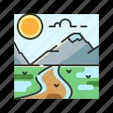 ice, landscape, nature, steppe, tundra icon