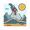 eruption, magma, mount, mountain, nature, volcano icon