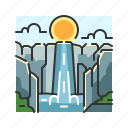 mountain, nature, river, stone, water, waterfall icon