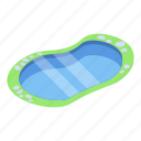 cartoon, isometric, nature, pond, small, summer, water icon