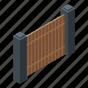 cartoon, frame, gate, isometric, retro, silhouette, wooden