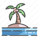 coconut, holiday, island, landscape, nature, sea, sky icon