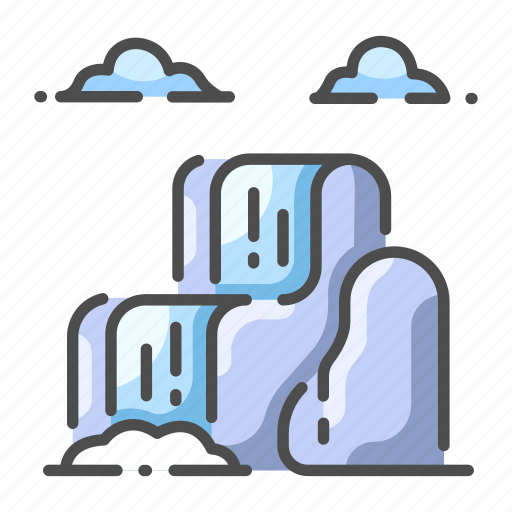 cloud fall landscape natural scenic water waterfall icon