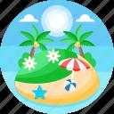 island, beach, sea, summer, palm tree, tropical, scenery, landscape icon
