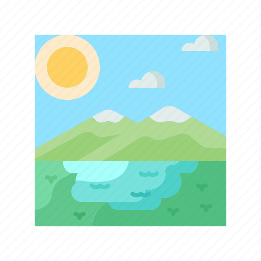 lake, landscape, nature, scenery, water icon