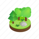 forest, grass, green, isometric, landscape, nature, tree icon
