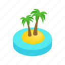 beach, isometric, palm, summer, travel, tropical, vacation icon