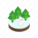 forest, isometric, snow, snowman, tree, winter, wood icon