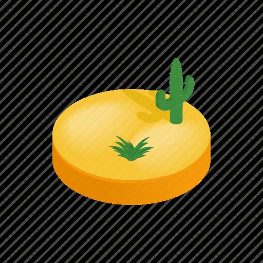 cactus, desert, dune, isometric, landscape, nature, sand icon