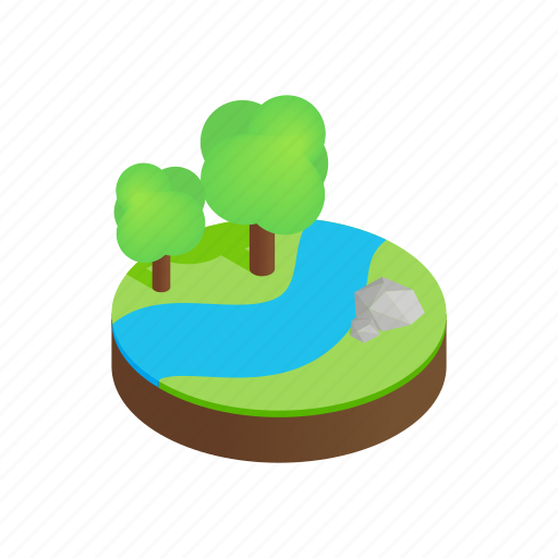 forest, grass, green, isometric, landscape, rock, tree icon