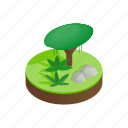 grass, green, isometric, jungle, landscape, nature, tree icon