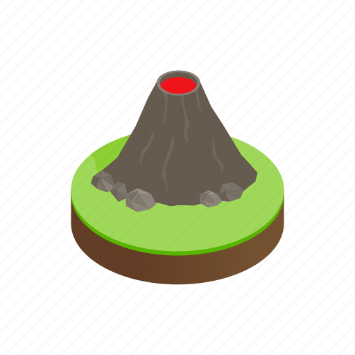 active, danger, eruption, isometric, mountain, nature, volcano icon