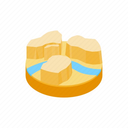desert, isometric, landscape, mountain, nature, river, water icon