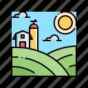 farm, field, landscape, nature, rural icon