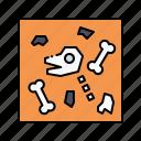 fossil, landscape, nature, skeleton, underground icon